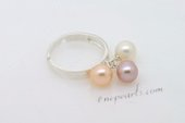 spr039 wholesale 7-8mm round pearl combine with Sterling Silver expandable ring