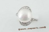 spr040 Modern Sterling Silver 12-13mm white bread pearl ring