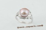 spr048 Timeless 10-10.5mm large bread pearl flower ring in purple color