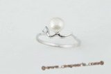 spr050 Sterling silver 6-6.5mm bread pearl swirl ring in wholesale