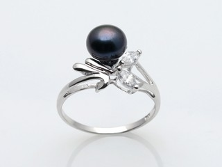 spr052 Sterling silver 7-7.5mm black bread pearl designer ring