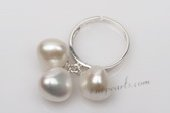 spr104 Handmade 11-12mm nugget pearl adjustable band ring in sterling silver