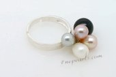 spr105 Designer sterling silver ring pearl dangling ring in US size5.5