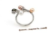 spr116 925Silver Colorful Rice Shape Pearl Ring in Calyx design