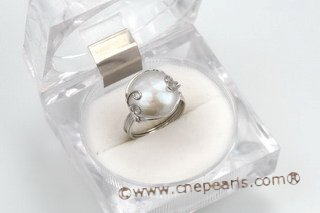 spr117 Hand Wired Sterling Silver Freshwater Coin Pearl Rings