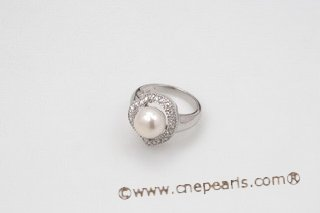 spr119 Sterling Silver White Freshwater Bread Pearl Heart Shape Ring