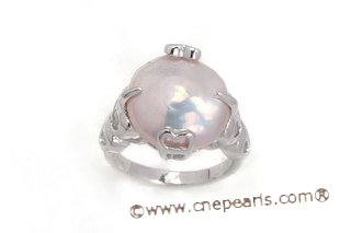 spr123 Sterling Silver 15-16mm Purple Coin Pearl Heart Ring
