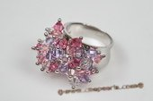 Spr128 Sterling Silver Flower Cluster Colorful Austria Crystal Ring