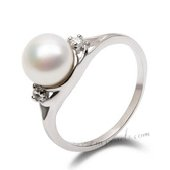 Spr132 Simple Sterling Silver 7-8m Cultured Round Pearl Ring