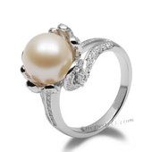 Spr148 Capture Collection Freshwater Round Pearl and Zircon Ring