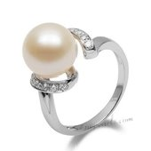 Spr151 Stylish 10-11mm Freshwater Round Pearl Sterling Silver Ring