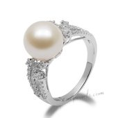 Spr154 Stylish Sterling Silver 10-11mm Freshwater Round Pearl Ring