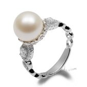 Spr155 Pretty Design 925Silver 10-11mm Freshwater Round Pearl Ring