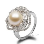Spr158 Modern 925Silver Ring with 10-11mm Freshwater Round Pearl