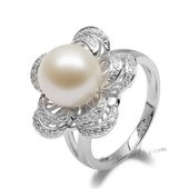 Spr162 Fashion 10-11mm Freshwater Round Pearl Sterling Silver Ring with Zircon