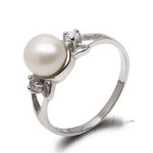 Spr167 Lovely White Freshwater Pearl 925 Sterling Silver Ring