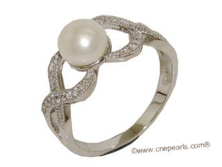 spr169 Fine 925 Sterling Silver  Finger Band Love Knot Pearl Ring