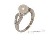 spr170 Sterling Silver Freshwater Pearl White Bread Pearl & Cubic Zircon Rings