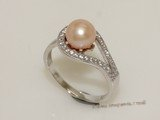 spr171  7-8mm round  Freshwater Pearl Pink Color & Cubic Zircon Sterling Silver Rings