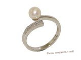 spr175 Sterling Silver Freshwater Cultured Pearl & Ziron Bypass Ring