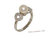 spr176 Sterling Silver Freshwater Cultured Pearl & Zircon Accent Heart Ring
