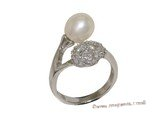 spr178 Sterling Silver Freshwater Cultured Pearl & Ziron Accent Twisted Ring