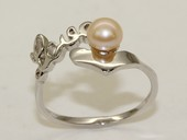 spr184 Sterling silver Love letters Freshwater Round Pearl Rings