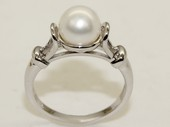 spr186 Sterling Silver 7-8mm Round Freshwater Pearl Ring