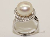spr187    Sterling Silver Cubic Zirconia Double Circle Pendant With Cultured Freshwater Pearl