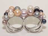spr191 Sterling Silver Multi-Color Round Freshwater Pearl Two Finger Ring