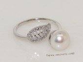 spr193 Sterling Silver Freshwater Pearl White Bread Pearl Ring