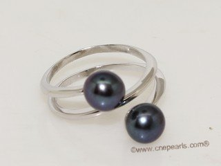 spr194 Beautiful Sterling Silver Ring  with Black Freshwater Pearl
