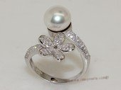 spr196 Sterling Silver Freshwater Cultured Pearl Flower Design  Bypass Ring