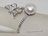 spr197  Sterling Silver Freshwater Cultured Pearl Dragonfly Design  Bypass Ring