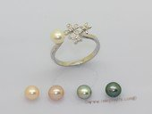 spr228 Sterling Silver Freshwater Cultured Pearl & Zircon Accent  Flower Ring
