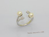 spr229 Sterling Silver Freshwater Cultured Pearl & Zircon Accent  Star Ring