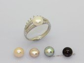 spr232 7.5-8mm White Bread Pearl Sterling Silver Design Ring