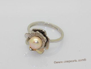 Spr234 Fashion 6.5-7mm Grey Bread Pearl Sterling Silver Ring with Zircon