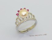 spr237 Fine 925 Sterling Silver  Finger Band Crown Shape Pearl Ring