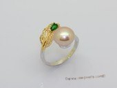 spr240 Sterling Silver Freshwater Cultured Pearl Feather Design  Bypass Ring