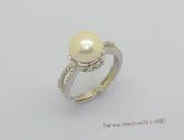spr241  Large 9.5-10mm Freshwater Bread Pearl & Cubic Zircon Sterling Silver Rings