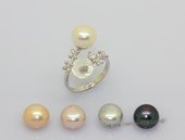 spr242  Sterling Silver Rings with 9-9.5mm  Bread Freshwater Pearl & flower fitting