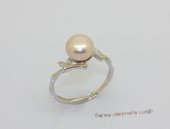 spr243  9-9.5mm Bread Freshwater Pearl Pink Color & Cubic Zircon Sterling Silver Rings