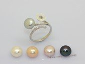 spr244  Sterling Silver Rings with 9-9.5mm  Bread Freshwater Pearl & flower fitting