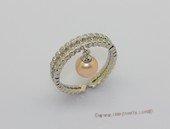 spr246 Sterling silver 7-7.5mm round pearl adjustable tray ring