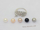 spr247 Sterling Silver Freshwater Cultured Pearl Feather Design  Bypass Ring