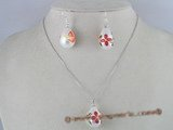 spset002 White tear-drop printed flower shell pearl necklace and earrings set