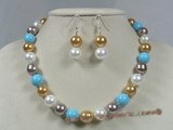 spset016 multi colour sea shell pearl beach pearl necklace earrings set