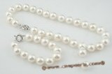spset017 12mm white south sea shell pearl necklace earrings set