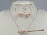 spset024 Pink shell pearl with zircon beads pendant& earrings set